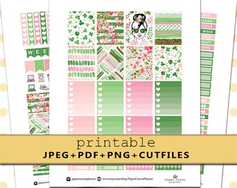 IRISH CHIC Weekly Kit/Printable Planner Stickers for use w/Erin Condren Life Planner/St Patricks Day Sticker Set/March Stickers/Silhouette