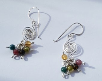 Tourmaline and Sterling Silver Wave Earrings / Maine Made Jewelry / Swirl Spiral Dangling Earrings / Gift for Her / Pink Green Gemstone