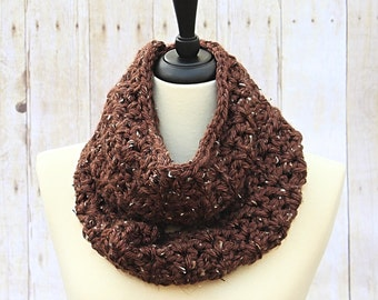 Chunky Infinity Scarf, Brown Infinity Scarf, Brown Loop Scarf, Chunky Crochet Scarf, Tan Infinity Scarf, Brown Scarf, Tan Scarf, THE ALBANY