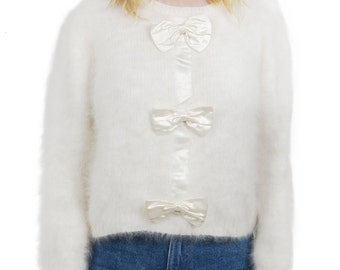 Vintage 1990s cream cropped angora sweater - 90s preppy Cher Clueless fluffy sweater - Nineties cute satin bow princess rom-com jumper