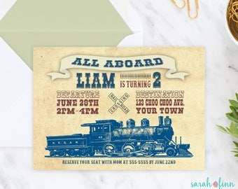 Train Invitation, Vintage Train Birthday Party, Old Fashioned Train Party, Birthday Invitation, Printable Invitation, Choo Choo, Boy