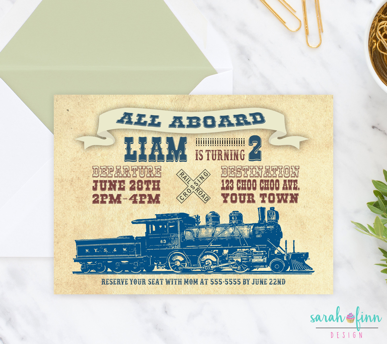 Train Invitation Vintage Train Birthday Party Old Fashioned