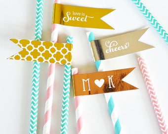 Bridal Shower Straw Flags - Personalized Metallic Foil Flag Labels - Wedding Straw Tags - Cake Pop Gold Tags - Metallic Gold Cupcake Toppers
