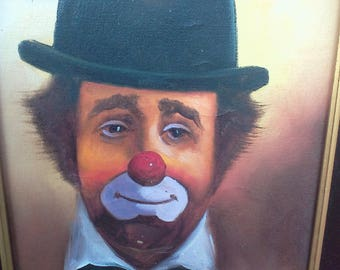Vintage Clown Picture, Wall Hanging, Clowning Around, Canvas Painting, Art, Wall Art