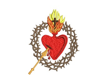 SACRED HEART - machine embroidery design - Instant Download