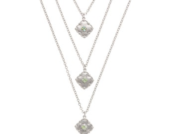 MARRA Layered Necklace - Silver + Blue Green