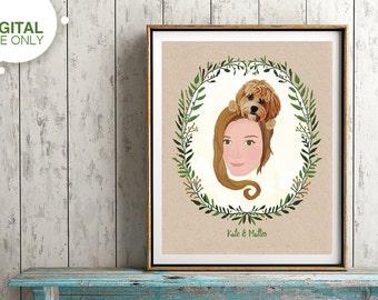 Custom Portrait Illustration, Printable Personalizied Portrait, Custom Birthday Gift, Mothers Day Gift, Christmas Gift, Graduation Gift