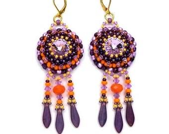 Embroidered earrings, gold Stud Earrings, elegant hippize, orange purple violet Crystal, glass
