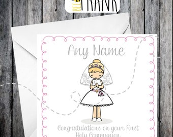 Cute First Holy Communion card, girl, personalised