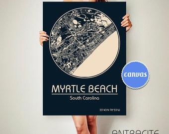 MYRTLE BEACH South Carolina CANVAS Map Myrtle Beach South Carolina Poster City Map Myrtle Beach South Carolina Art Print Myrtle Beach sc