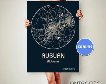 AUBURN Alabama CANVAS Map Auburn Alabama Poster City Map Auburn Alabama Art Print Auburn Alabama poster Auburn Alabama map