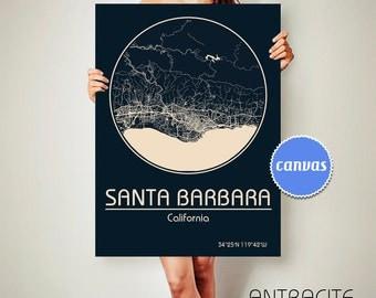 SANTA BARBARA California Map Santa Barbara Poster City Map Santa Barbara California Art Print Santa Barbara California poster Santa Barbara