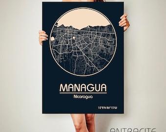 MANAGUA Nicaragua CANVAS Map Managua Nicaragua Poster City Map Managua Nicaragua Art Print Managua Nicaragua