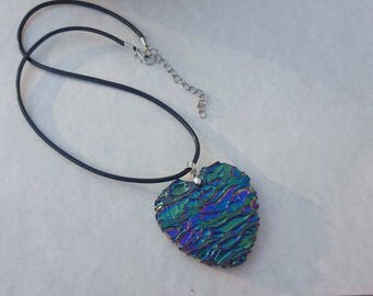 Handmade heart developed titanium titanium agate flower pendant