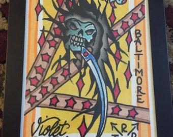 Tattoo Grim Reaper Watercolor Painting