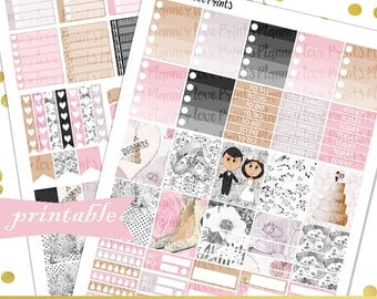 WEDDING DAY PRINTABLE Planner Stickers | Instant Download | Pdf and Jpg Format