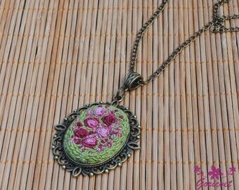 Roses necklace flowers jewelry womens gift mom jewelry pendant necklace nature necklace pink roses nature inspired green necklace embroidery