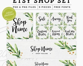 Etsy Shop Set 9 Pieces - Branding Package Premade Etsy Branding Kit - PSD Etsy Set - Floral & Gold Marketing Kit, PSD Etsy Shop Graphics
