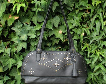 Rivets satchel | Rock and roll bag | Informal evening satchel | black leather satchel | Embroidered leather purse | Informal black satchel