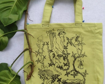 Nudes in Vines Shopping Bag-Large Bag-Green Canvas Hand Drawn Bag-Reusable Shopping Bag
