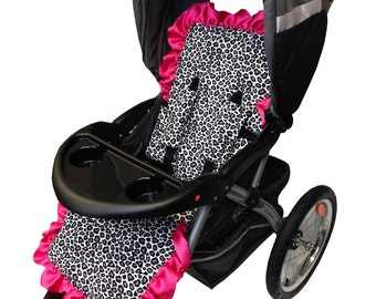 Gray Cheetah Stroller Liner- Reversible to Hot Pink Minky