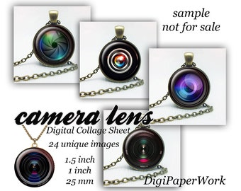 "Camera lens Digital Collage Sheet lens Images for Glass Dome Bottle Caps cabochon Magnets Printables for Pendants 1.5"" 1"" 25mm"
