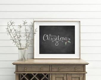 Merry Christmas Printable, Christmas Print, Digital, Christmas Wall Sign, Chalk Christmas wall decor, Chalk Christmas wall art print, Decor