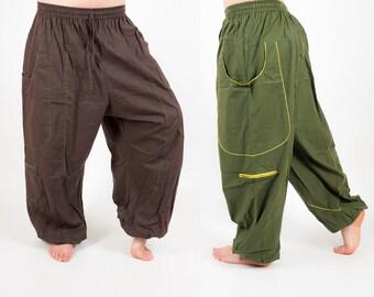 Harem Pants, Unisex yoga trousers, baggy mens dance pants, festival clothing, aladdin pants, ali baba pants, big pockets, indian style MC1