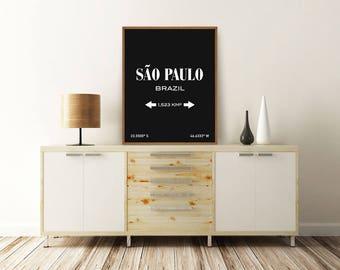 SAO PAULO PRINT, Sao Paulo Brazil, Sao Paulo Poster, Sao Paulo Map, Brazil Poster, Typography Print, Printable Wall Art, Minimalist Poster