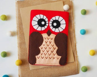 Owl felt gadget cover - RED - iPad case , Tablet case , Kindle case - 100% wool felt owl, woodland animal , red beige brown, gadget sleeve