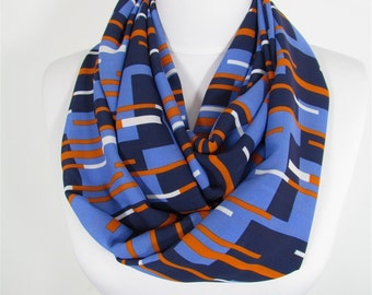 Striped Scarf Infinity Scarf Blue Scarf Holiday Christmas Gift For Her Gift For Women Spring Fall Winter Scarf Women Fashion Accessories