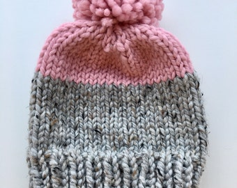 Chunky Knit Pom Pom Hat // THE DIXIE // Choose Your Color!