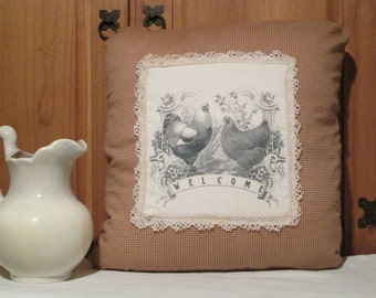 Farmhouse country chickens pillow