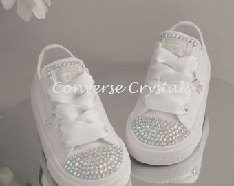 Girls Custom Crystal  Toes & Tongue *Bling* Converse  Infant Sizes 2-10. Various Options available.