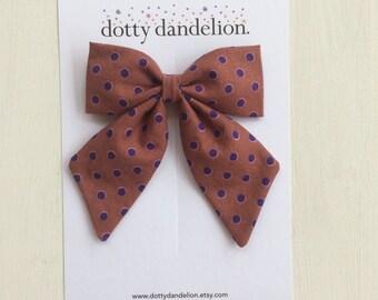 Polka Dot Hair Bow | Rust Hair Bows, Brown Hair Bow, Girls Hair Bow, Girls Hair Clip, Brown Hair Bows, Polka Dot Hair Clip