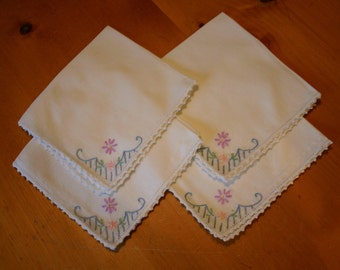 Set of Four Embroidered White Linen Napkins with Crocheted Edging
