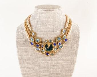 Rare Vintage YSL Necklace Yves Saint Laurent Blue Gripoix Faux Pearl Couture Par Robert Goossens