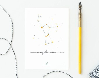 Postcard Among the stars, card constellation Orion, dreamy magical, baby card, nursery, interior wall decor, ecoline, mail, loss, sympathy
