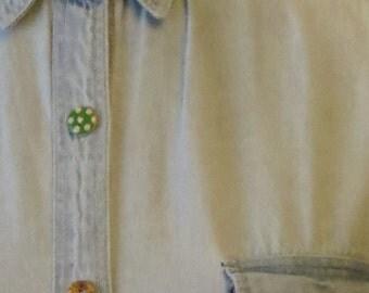 Women's Custom Denim Shirt Medium (size 12) with Floral Detail