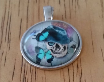 1 - Silver - Glass Cabochon - Pendant - Necklace - Skull with Butterflies - The Size is 36mm x 28mm