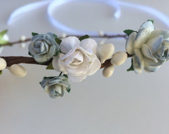 Blue flower crown, bridal hairpiece, bridesmaid or flower girl crown, rose crown, toddler tiara