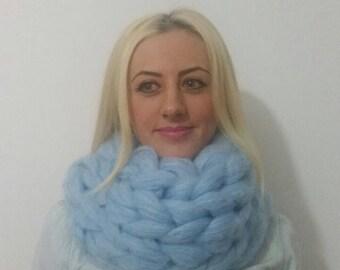 Chunky knit scarf. Super chunky infinite scarf. Sky Blue scarf. Chunky scarf. Infinity scarf. Mohair scarf Knit scarf. Oversized scarf.