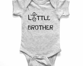 Little Brother - Heather Gray Bodysuit - Funny - New Brother - Sibling - Baby Brother - Baby Shower Gift