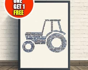 Tractor personalised art print,  tractor print, tractor artwork