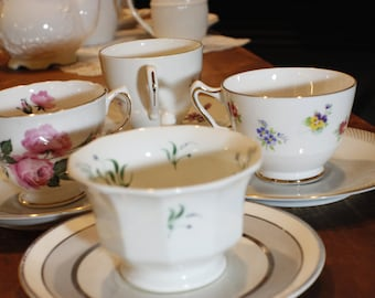 Tea Party Set of Coordinating Cups and Saucers -014