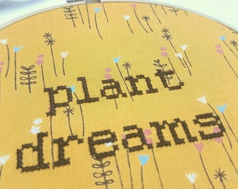 """Plant Dreams KIT or GIFT embroidery 6"""" hanging mental health charity awareness diy gift cross stitch kit floral garden positivity mindful"""