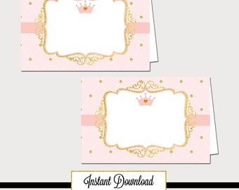 Printable Princess Pink and Gold-A 030 Baby Shower Tent Cards, Food label, Party Decoration, Baby Shower, Birthday