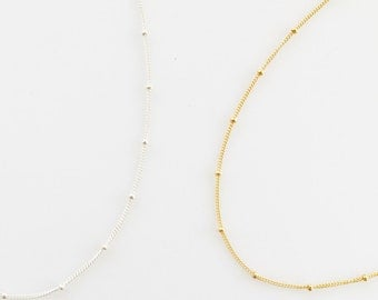Layering Satellite Chain Necklace, Dainty Beaded Satellite Chain, Layering Necklace, Chain Necklace