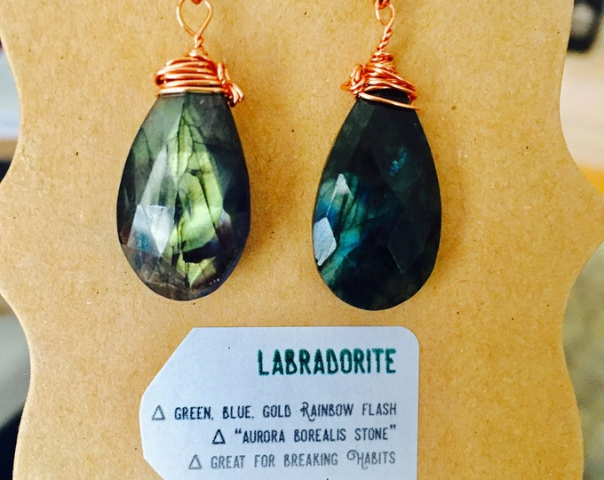 Large Labradorite Crystal Copper Drops