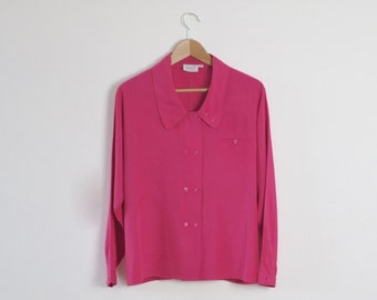Fuchsia Pink Blouse  |  Vintage Pink Blouse |  Pink 80s Blouse  | Retro 80s Top  | Retro Vintage Shirt